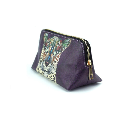 'Leopard Queen' Purple Make Up Bag
