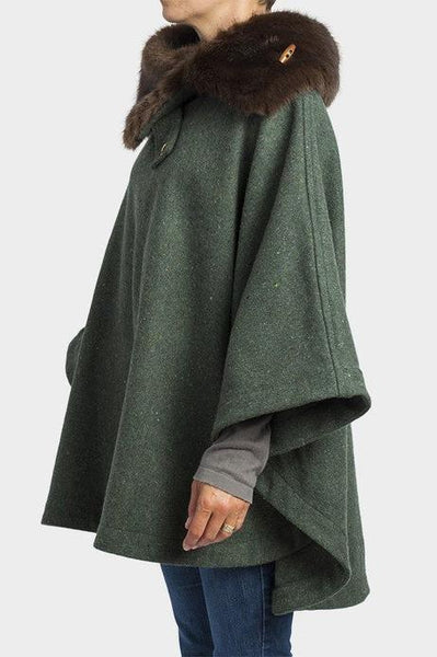 Moss Green Fur Collar Poncho