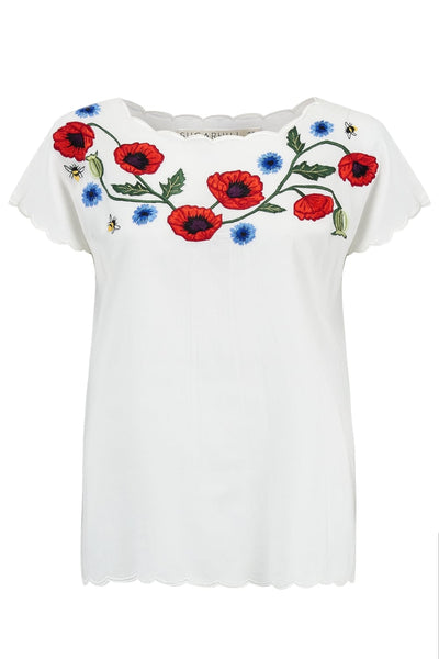 Wild Flowers & Bumblebees Embroidered Top