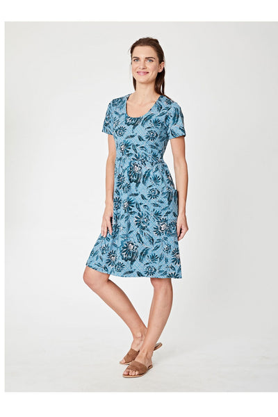 Passiflora Relaxed Floral Print Dress With Pockets