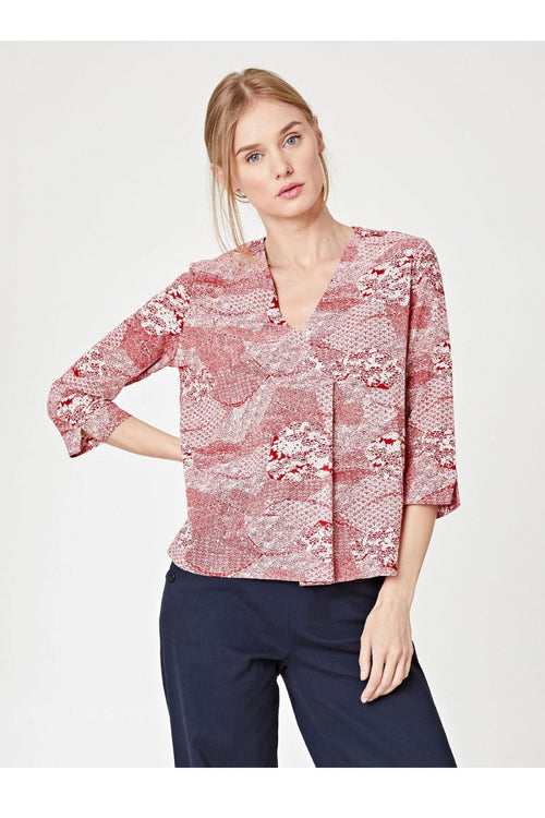 Manami Organic Cotton Red Print Wrap Top