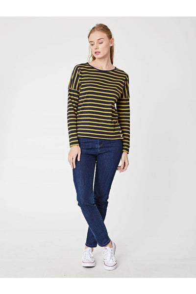 Campbell Stripy Jersey Top With Button Details