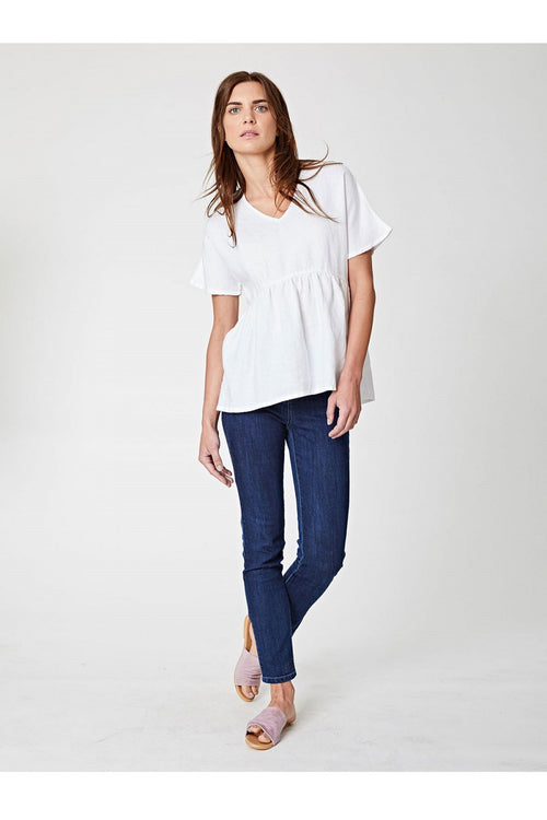 Jazmenia V-Neck Hemp Top