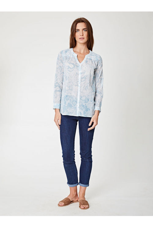 Marina Printed Button Up Blouse
