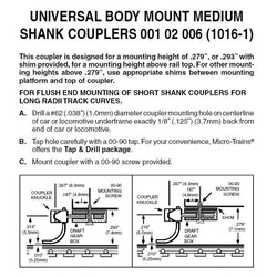 MTL 001 02 006 N Assembled Universal RDA Body Mount Medium Shank Coupler