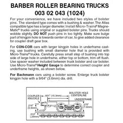 MTL 003 02 043 (1024) N Barber Roller Bearing Trucks with Medium + Extension