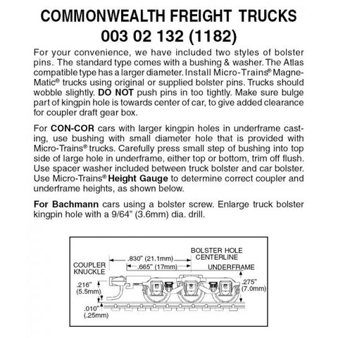 Micro Trains 003 02 132 (1182) N Commonwealth 6-Wheel Freight Trucks, Assembled