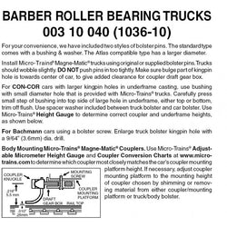 Micro Trains 003 10 040  (1036-10) N, 10 Pair, Bulk Pack, Barber Roller Bearing Trucks, No Coupler