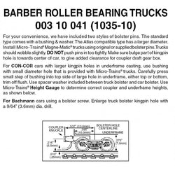 Micro Trains 003 10 041  (1035-10) N, 10 Pair, Bulk Pack, Barber Roller Bearing Trucks, Short Extension
