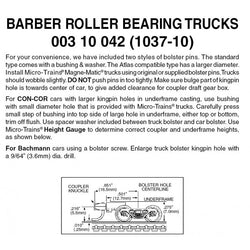 MTL 003 10 042 (1037-10) N, 10 Pair, Bulk Pack, Barber Roller Bearing Trucks