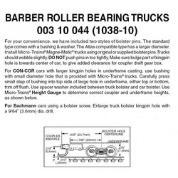 Micro Trains 003 10 044 (1038-10) N, 10 Pair, Bulk Pack, Barber Roller Bearing Trucks with Long Ext