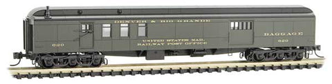Micro Trains 148 00 390 N 70' Heavyweight Mail Baggage Car, DRGW, 620