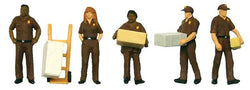 SceneMaster 6043 HO UPS Delivery Personnel with Handcart, 6 Pieces