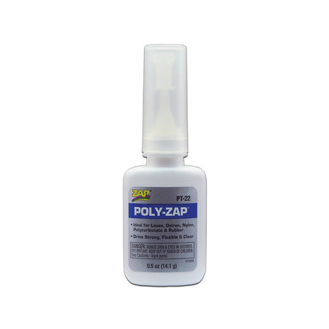 ZAP PT-22 Poly-Zap Adhesive Glue, Lexan, Delron, Nylon, Polycarbonate and Rubber .5oz (14.1grams)