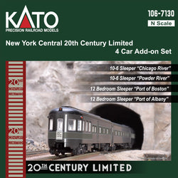 Kato 106-7130-1 N, 20th Century Limited, 4 Car Add-On Set, Lights, New York Central, NYC, Chicago River, Powder River, Port of Boston, Port of Albany