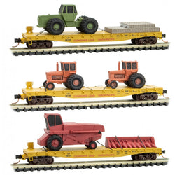 Micro-Trains Line 933 01 930 N, 50' Flat Car, Farm Equipment Loads, UP