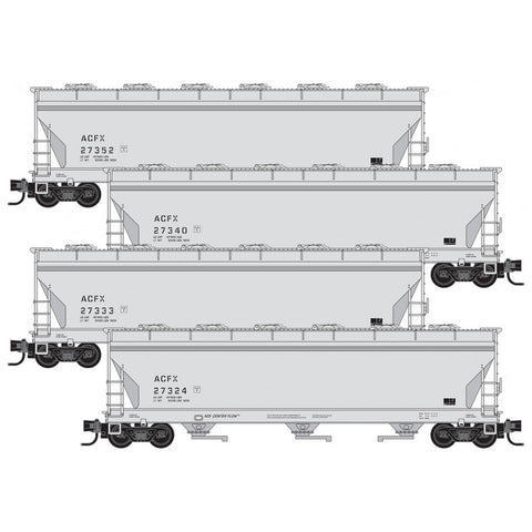 Micro-Trains Line 993 00 165 N, PS2 3 Bay Covered Hopper, 4-Car Pack, ACFX, Without Reflectors