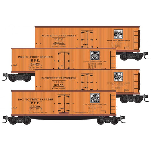 Micro-Trains Line 993 00 171 N, 40' Double Sheathed Wood Reefer, 4-Pack, Western Pacific