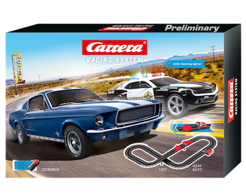 Carrera 63504 Racing System, 1:43 Electric Slot Car Set, Speed Trap, Battery Operated