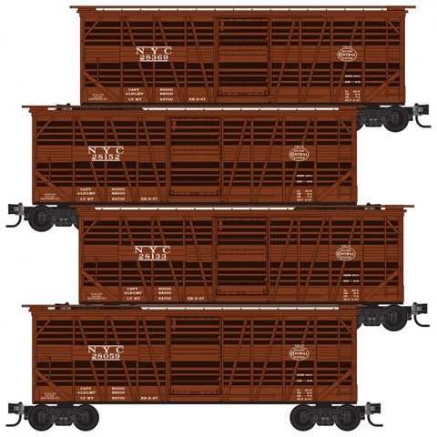 Micro-Trains Line 994 00 110 Z Scale 40' Despatch Stock Car, 4 Pack, New York Central