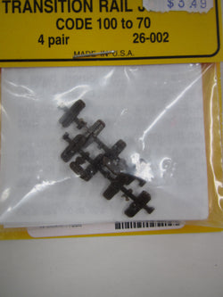 Micro Engineering 26-002 HO scale Transition Rail Joiners Code 100 to 70 (4 pair)