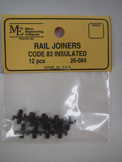 Micro Engineering 26-084 HO scale Code 83 Insulated Rail Joiners 12 per package