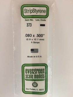 "Evergreen 373 Strips, .080"" x .500"", 2.0 x 12.7 mm, 5 Pieces"