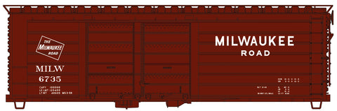 Accurail 3983 HO, 40' Double Door Rib Side Box Car, Milwaukee Road, MILW, 6735