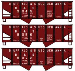 Accurail 24295 HO, USRA Twin Hopper, Buffalo and Susquehanna, BS, 3 Car Set