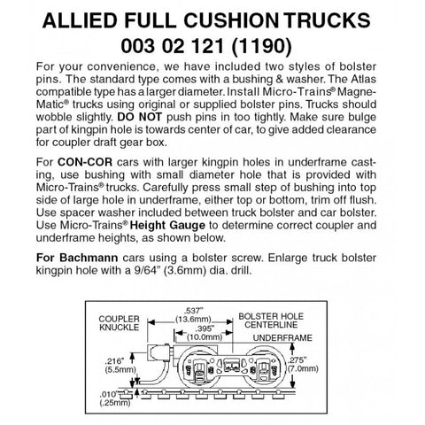 Micro Trains 003 02 121 (1190) N Allied Full Cushion Trucks, Short Extension Magne-Matic Couplers, Assembled, Black (1 Pair)