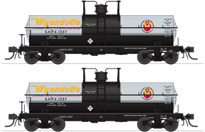Broadway Limited 6469 HO, 6K Gallon Tank Car, Wyandotte Chemicals, SHPX, 2 Pack