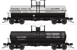 Broadway Limited 6473 HO, 6K Gallon Tank Car, Niagra Alkali, Southern Alkali, SACX, NACX, 2 Pack