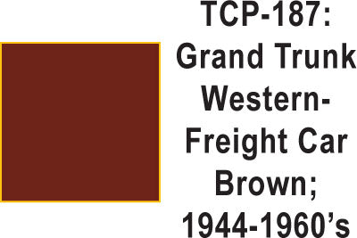 Tru Color TCP-187 Grand Trunk Western 1944-60s Freight Car Brown Paint 1 ounce