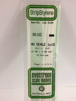 "Evergreen 8110, HO Scale 1 x 12, .011"" x .112"" (0.28 mm x 2.84 mm) (10 Pieces)"