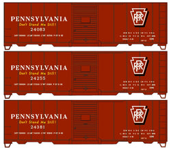 Accurail 8128 HO, 40' Riveted Steel Box Car, X29D, Pennsylvania, PRR, 3 Pack