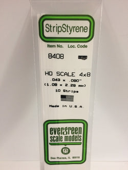 "Evergreen 8408 Strips, HO Scale 4 x 8, .043"" x .090"" (1.09 mm x 2.29 mm) (10 Pieces)"