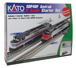 Kato 106-0043 N, Amtrak SDP40F Amfleet Starter Set, 1 Locomotive, 3 Cars, M1 Set