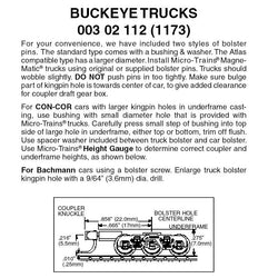 Micro Trains 003 02 112 (1173) N Buckeye Trucks, Medium Extension Magne-Matic Couplers, Assembled, Black (1 Pair)