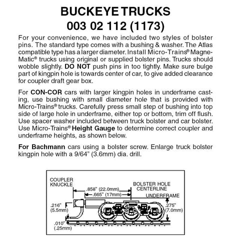 Micro Trains 003 02 112 (1173) N Buckeye Trucks, Medium Extension Magne-Matic Coupler