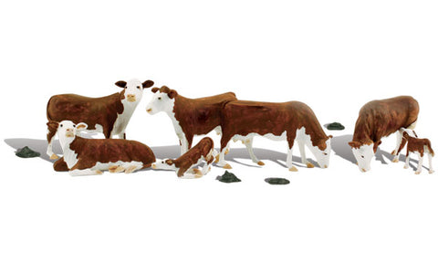 Woodland Scenics A2767 O,  Hereford Cows, Brown Cows, 11 Pieces