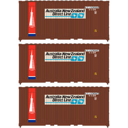 Athearn 17694 N, 20' Panel Side Container, Australia New Zealand, AZLU, 3 Pack