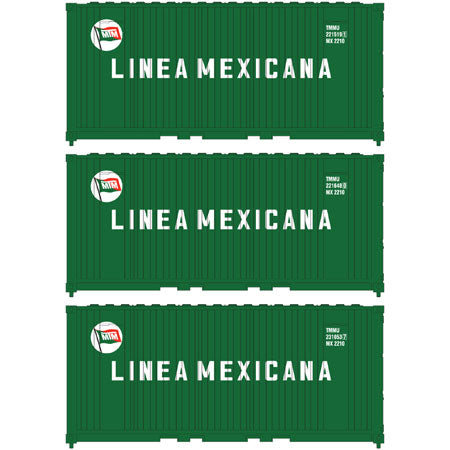 Athearn 17696 N, 20' Panel Side Container, Linea Mexicana, TMMU, 3 Pack