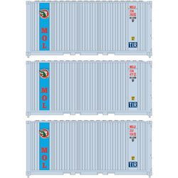 Athearn 17697 N, 20' Panel Side Container, Mitsui OSK Lines, MOLU, 3 Pack