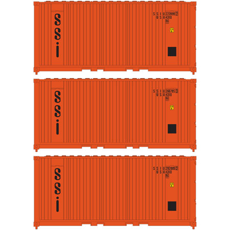 Athearn 17698 N, 20' Panel Side Container, SSI Container Group, SSIU, 3 Pack