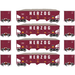 Athearn 1868 N 40' 3-Bay Ribbed-Side Open Hopper, 4-Pack, Herzog