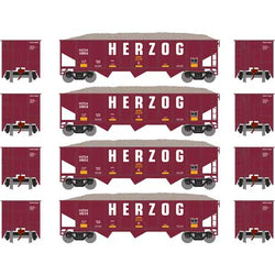 Athearn 1869 N 40' 3-Bay Ribbed-Side Open Hopper, 4-Pack, Herzog