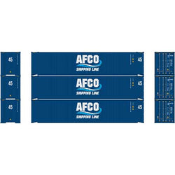 Athearn 23349 Ready To Roll HO 45' Container, 3-Pack, AFCO Shipping Line, SEGU