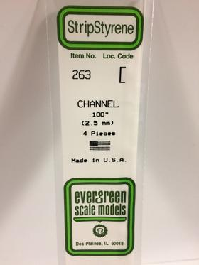 "Evergreen 263 Channel, .100"" (2.5 mm) (4 Pieces)"