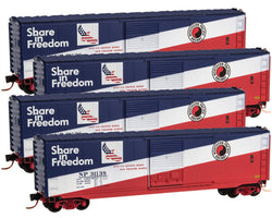 Micro-Trains Line 993 00 106 N 50' Standard Box Car, 4-Car Pack, NP Share in Freedom