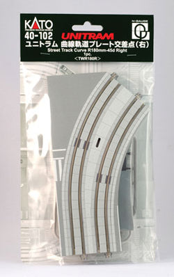 "Kato 40-102 N Unitram Street Track Right Curve 180mm (7"") Radius 45 Degree"